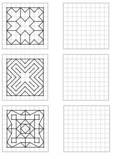 Here is a file of 30 geometric figures of increasing difficulty to repro Art Worksheets, Preschool Worksheets, Math Activities, Printable Math Worksheets, Graph Paper Drawings, Graph Paper Art, Blackwork Patterns, Zentangle Patterns, Visual Perception Activities