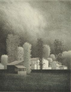 """Robert Kipniss (American, b. 1931) Weather Moving Through. Signed """"Kipniss"""" in pencil l.r., dedicated """"for Beverly"""" in pencil l.l. Color lithograph on paper, image size 13 x 10 in. (33.0 x 25.4 cm), framed. Condition: Margins 1 inch or more, not examined out of frame. Estimate $200-250"""