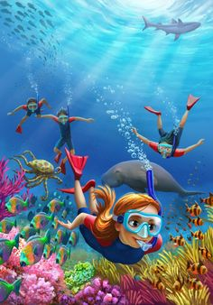Underwater Theme, Underwater Painting, Sea Illustration, Graphic Design Illustration, Under The Sea Drawings, Ocean Drawing, Dibujos Tumblr A Color, Line Art Vector, Art And Craft Videos