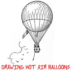 Step square hotairballoons Hot Air Balloon Drawing : How to Draw Hot Air Balloons with Easy Step by Step Lesson