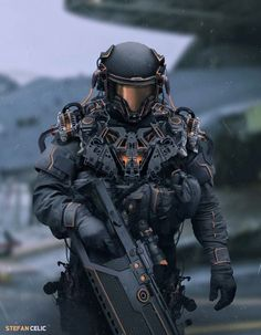 "Futuristic soldier, military concept art character design Robotic mech suit concept design ideas, futuristic cyber warrior fighter cyborg android in a fantasy robot suit armor ""Fusturistic soldier concept Credit:"