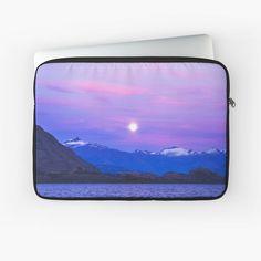 """Sunset Sky Mountain Lake Landscape"" Laptop Sleeve by ind3finite   Redbubble Sky Mountain, Sunset Sky, Sleeve Designs, Back To Black, Top Artists, Laptop Case, Laptop Sleeves, Iphone Cases, Landscape"