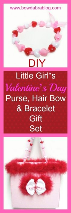 Design a Valentine's Day little girl's purse, hair bow, and ribbon bracelet set.
