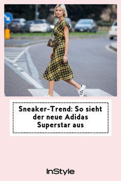 """Sneaker-Trend: So sieht der neue Adidas Superstar aus: Für Fans von Sneaker-Trends heißt es jetzt: Gut festhalten und nicht durchdrehen – denn Adidas bringt mit Prada den """"Superstar"""" neu heraus. Prada, Sneaker Trend, Adidas Superstar, High Low, Outfit, Sneakers, Dresses, Fashion, New Fashion Trends"""