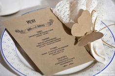 Rustik bröllop inspiration. 100% återvunnen kvistkartong.Meny kort, placeringskort fjäril.