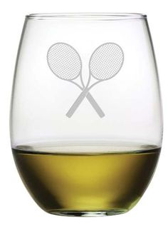 Tennis Racquet Stemless Wine Glasses Serve up a glass of wine, a cocktail or even tea or juice in these etched Tennis Racquet stemless wine glasses. This is a cute set of stemless wine glasses for the Tennis Shop, Tennis Party, Sport Tennis, Tennis Crafts, Tennis Accessories, Tennis World, Tennis Workout, Vintage Tennis, Tennis Quotes