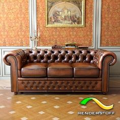... Attivo 3d stuff: Free 3D model - Antique brown Chesterfield sofa HQ