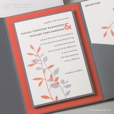 Contemporary Grey and Coral Leaf Custom Wedding by SuitePaper