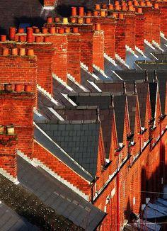 Rooftops and chimney stacks in Belfast, Northern Ireland