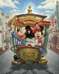 One way transportation Main Street Disney Mickey & Minnie Mouse. Walt Disney, Disney Mickey Mouse, Mickey And Minnie Love, Retro Disney, Minnie Mouse, Mickey Mouse And Friends, Disney Magic, Orlando Disney, Punk Disney