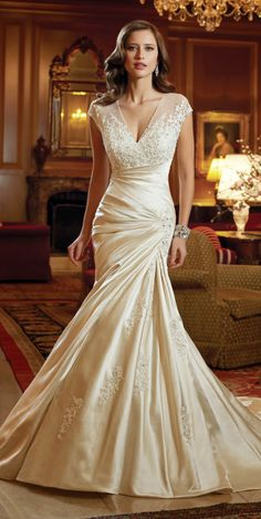 """From the designer: """" WEDDING DRESSES by Sophia Tolli, these bridal gowns provide both classic and couture designs including strapless ball gowns, A-line dresses Wedding Dresses 2014, Bridal Dresses, Wedding Gowns, Bridesmaid Dresses, Wedding Blog, Lace Wedding, Wedding Simple, Wedding Ideas, Bridal Lace"""