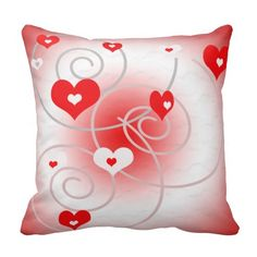 Love valentine red, white hearts and swirls pillow #pillows #valentine #hearts #crusades