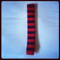 red & blue striped knit tie / men's style