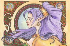 Limited Edition Art Print: Art Nouveau Nastajia Ashenheart Original Watercolor by Scott Christian Sava