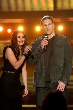 Clay Matthews Photos Photos - Actress Lea Michele and football player Clay Matthews of the Green Bay Packers speak onstage during The 53rd Annual GRAMMY Awards held at Staples Center on February 13, 2011 in Los Angeles, California. - The 53rd Annual GRAMMY Awards - Show