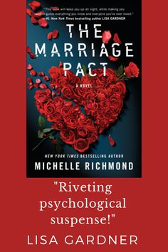 """""""A smart, searing, frightening look at modern love."""" Click through to see why your favorite thriller writers are raving about Michelle Richmond's THE MARRIAGE PACT. Cool Books, I Love Books, Books To Read, My Books, I Love Reading, Reading Lists, Book Lists, Book Suggestions, Book Recommendations"""