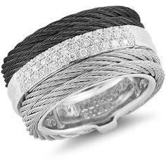 Alor Noir Diamond Ring ($1,255) ❤ liked on Polyvore featuring jewelry, rings, diamond jewellery, alor jewelry, diamond jewelry and diamond rings