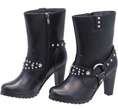 High Heel Studded Leather Harness Boots