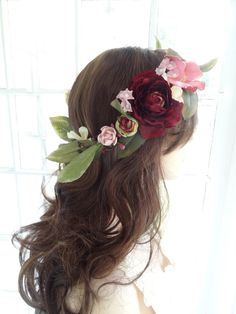 flower crown wedding, floral crown bridal, marsala wedding headpiece, burgundy flower hair piece, pink rose and leaves, large flower crown by thehoneycomb on Etsy https://www.etsy.com/listing/240880208/flower-crown-wedding-floral-crown-bridal