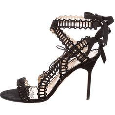 Pre-owned Marchesa 2016 Leather Laser Cut Sandals (7.384.335 VND) ❤ liked on Polyvore featuring shoes, sandals, black, black tie shoes, cut out sandals, strappy sandals, strap sandals and black strappy sandals