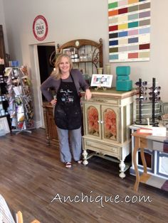 Here is Michelle welcoming you to her shop she runs with Mike, called Anchique! Located in Schomberg, Ontario, Canada.