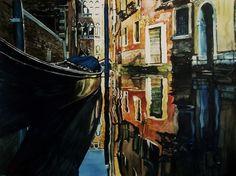 Paul Dmoch - Rio de la Verona à Venise, Italie - aquarelle