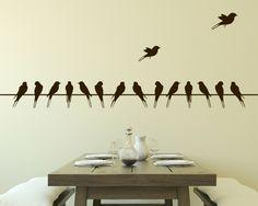 décorer la salle à manger de stickers muraux hirondelles