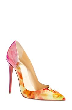 Can't get over how stunning these multi color Christian Louboutin pumps are!