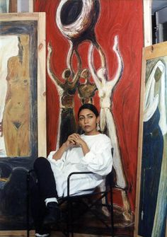 """mesogeios: """"Deepti Naval with her work """" Deepti Naval, Color Themes, Art Photography, Illustration Art, Illustrations, Artsy, Studio, Drawings, Creative"""
