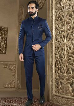 Terry Rayon Jodhpuri Suit in Navy Blue This Readymade attire is Enhanced with Buttons and is Crafted in Chinese Collar Neck and Full Sleeve Available with a Terry Rayon Pant in Navy Blue Do note Brooc - Indian Wedding Suits Men, Indian Groom Wear, Wedding Dress Men, Indian Men Fashion, Mens Fashion Suits, Mens Suits, Dress Suits For Men, Men Dress, Reception Suits