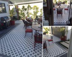 A DIY stenciled patio using the Nagoya Allover Stencil…