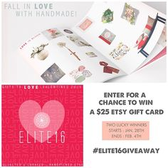 Instagram Giveaway! We're having a #giveaway! Celebrating our LOVE of #handmade with our current #GiftGuide we wanted to help you #shophandmade for #ValentinesDay. Win a $25 #Etsy Gift Certificate. There will be TWO lucky winners! To enter: 1. follow @elite16etsy if you don't already 2.Repost or Regram this photo with the caption : We LOVE handmade @elite16etsy! and include hashtag #elite16giveaway so we can see your entry. Two winners will be chosen on Wednesday February 4th. Good luck !!!