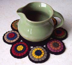 Primitive HandMade Penny Rug Mug Mat Primitive by backyardprims, $4.95