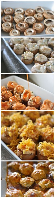 Enchilada Stuffed Mushrooms for a party appetizer!