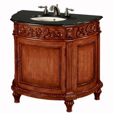 Chelsea Wide Sink Cabinet With Black Granite Top, BLACK GRANITE, ANTIQUE CHERRY