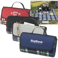 """""""The Park Blanket"""", includes foam lining and water-resistant PVC backing. Velcro closure. Front pocket on flap. Carry handle. #promotional _products #jmprinting _buyers"""