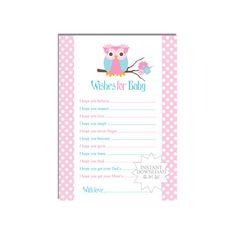 Pink Owl Baby Wish Card-Well Wishes Card-Advice by AllbyWanda