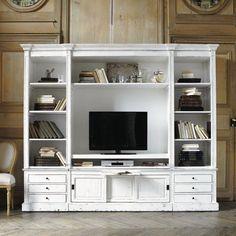 Bücherregal/TV-Lowboard aus Massivholz, B 264 cm, elfenbein Passy