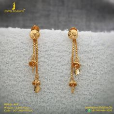 Gold 916 Premium Design Get in touch with us on - Carpets Mag Gold Jhumka Earrings, Gold Bridal Earrings, Jewelry Design Earrings, Gold Earrings Designs, Gold Jewellery Design, Bridal Jewelry, Jhumka Designs, Hoop Earrings, Designer Jewellery