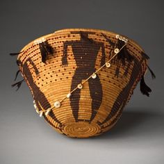 Pomo ~ Northern California, United States | Figured Gift Basket, c. 1890 | Vegetable fibers, glass and clamshell beads, and quail feathers