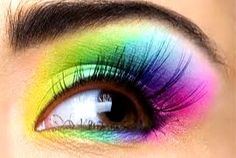 Rainbow eye make up Rainbow Eye Makeup, Rainbow Eyes, Neon Rainbow, Rainbow Colors, Smokey Eye Makeup Look, Makeup Looks, Makeup Art, Beauty Makeup, Beauty Tips
