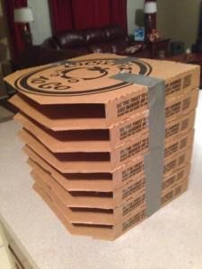 Pizza box paper storage