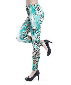Loving this Brown & Turquoise Jaguar Leggings on #zulily! #zulilyfinds