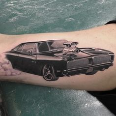 Get some hot wheels. | 49 Bloody Brilliant Black And Grey Tattoo Ideas