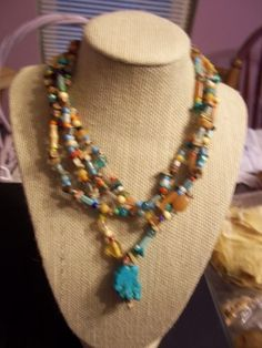 64 inches -wood,glass,gemstone,metal beads all on a no clasp necklace | gold-art - Jewelry on ArtFire