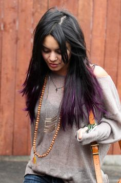 Purple Highlights in Brown Hair | Vanessa Hudgens in June 2012