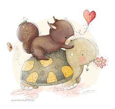 Children Illustration - Nursery - Cute Best Friends Turtle And Squirrel - A3