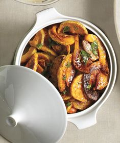 roasted butternut squash with mustard vinaigrette recipe. sounds like a delicious vegetarian thanksgiving side dish. Potluck Recipes, Side Dish Recipes, Veggie Recipes, Vegetarian Recipes, Cooking Recipes, Healthy Recipes, Easy Recipes, Savoury Recipes, Free Recipes