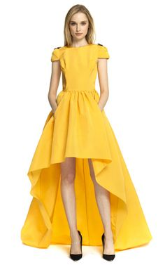 High-To-Low Hemline Gown by Katie Ermilio for Preorder on Moda Operandi