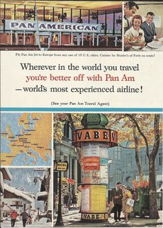 "Pan Am Airline Original 1963 Vintage Ad Color Photo European Air Travel Cuisine by Maxim's of Paris ""World's Most Experienced Airline"""